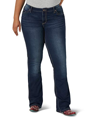 Wrangler Women's Q-Baby Mid Rise Boot Cut Ultimate Riding Jean, Dark Blue, 20X30