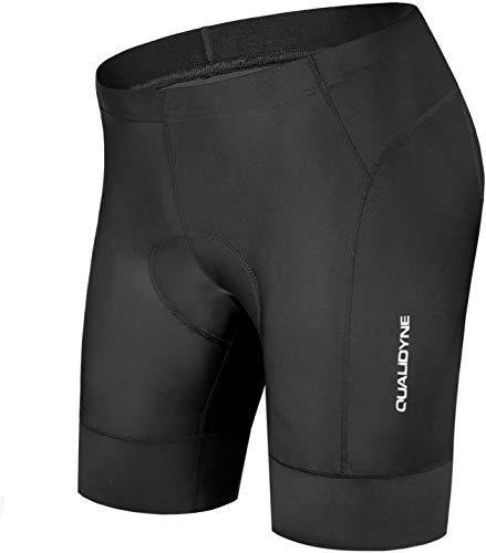 qualidyne Men's Bike Cycling Shorts, Bicycle Biking Riding Shorts, 3D Padded Half Pant -Quick Dry & Comfy Black