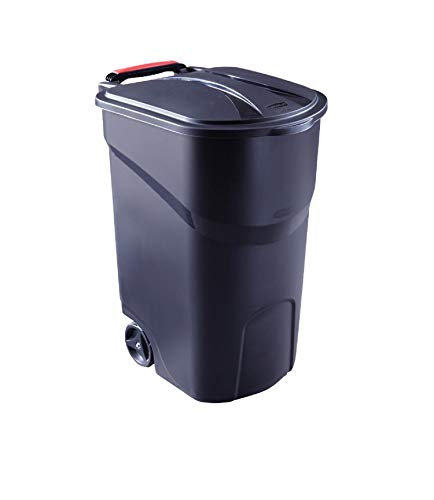 JN 45 Gal. Outdoor Wheeled Trash Can with Lid Garbage Container for Kitchen-Black