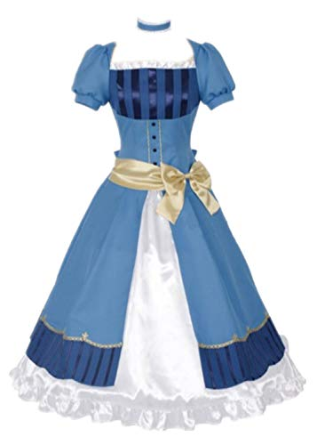 Black Butler Elizabeth Midford Cosplay Costume Blue Lolita Dress Halloween Costume Full Set (Female S)