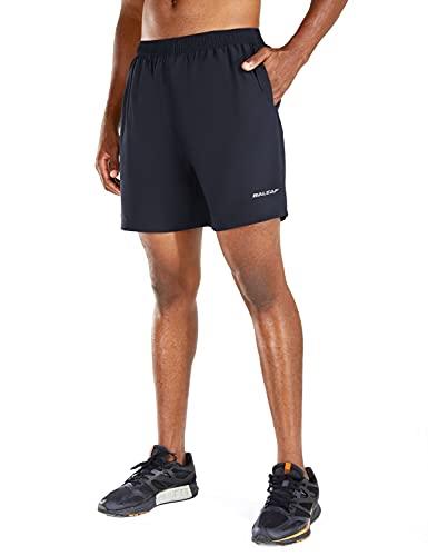 BALEAF Men's 5 Inches Running Athletic Shorts Zipper Pocket Navy Size M