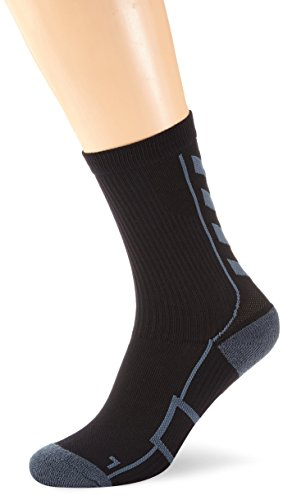 Hummel Sportsocken kurz Unisex mit Polsterung div. Farben - REFLECTOR TECH INDOOR SOCK LOW - Socken antibakteriell für Sport & Fitness - Strümpfe Mesh Belüftung, schwarz (Black/Dark Slate), 10 (36-40), 21-074-1078