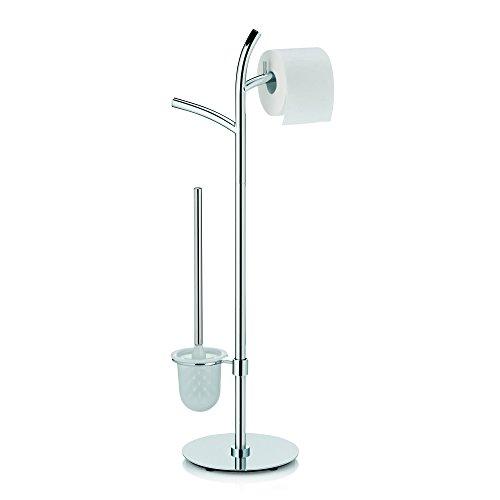 Kela 22871, WC-Bürstentopf und Papierhalterung, Toilettengarnitur, 2 Rollen, Metall, Saltus, 81cm, Verchromt