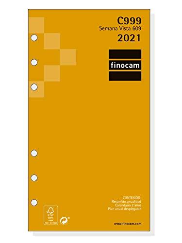 Finocam - Recambio Anual 2021 Semana vista apaisada Classic C999 Español, 609-94x171 mm