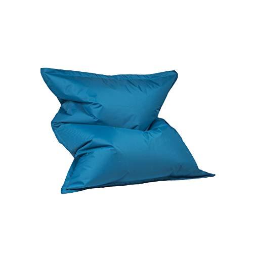 Bepouf Poltrona Sacco Puf Pouf Cuscino Puff Cuscinone Dimensioni 140x100 Cm Poliestere Pieno (Azzurro, S)