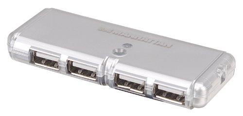 Manhattan 4-Port Hi-Speed USB Pocket Hub - Silver (160599)