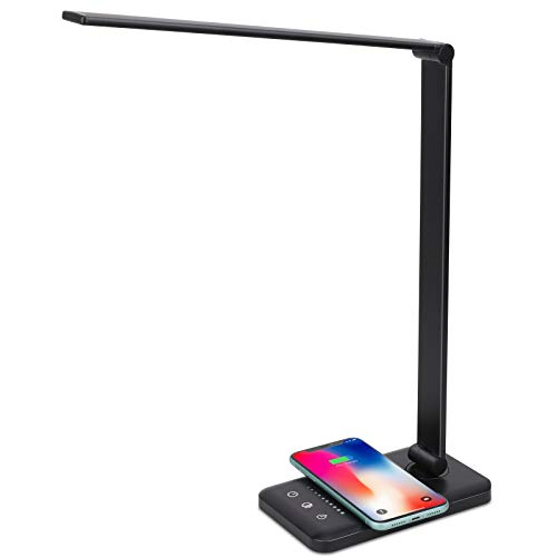 LED Desk Lamp with Wireless Charger, USB Charging Port, 5 Brightness Levels, 5 Lighting Modes, Touch Control, 30/60 min Auto Timer, Eye-Caring Office Lamp with Adapter (Black)