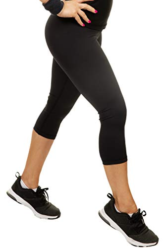 CompressionZ Compression Capri Leggings for Women - Yoga Capris, Running Tights, Gym - High Waisted Pants (Black, L)