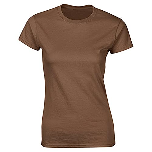 Pure colorladies Pure Cotton Stretch T-Shirt Mujeres Casual top manga corta