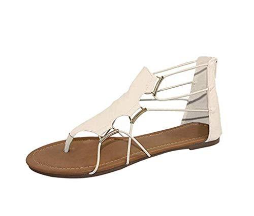 Fashion Women Flat Sandals Summer Retro Flip-Flops Round Toe Flat Platform Shoes Cross Strap Beach Sandals Beige