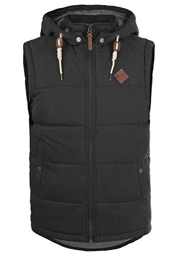!Solid Dry Herren Weste Steppweste Outdoor Weste Mit Kapuze Und Stehkragen, Größe:XL, Farbe:Black (9000)