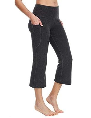 "BALEAF Women's 21"" Yoga Capri Pants Flare Workout Bootleg Leggings Bootcut Crop Side Pockets Charcoal XL"