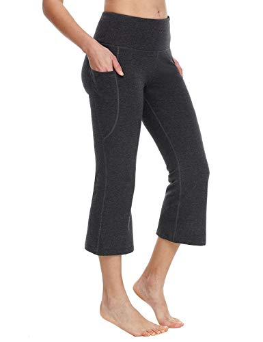 """BALEAF Yoga Workout Capris for Women Lounge Flare Pants Casual Work Bootcut with Side Pockets - 21"""" Charcoal XXL"""