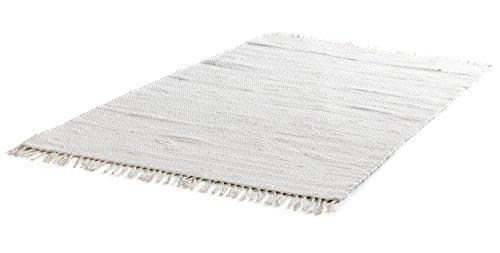 Flickenteppich Wohnzimmerteppich Handwebteppich | 140x200 cm | Natur | Baumwolle