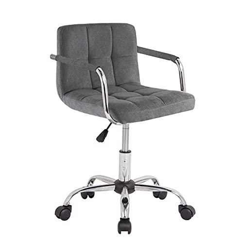 Neo Silla de escritorio de oficina acolchada de piel sintética con patas cromadas, giratoria, pequeña, ajustable (tela gris oscuro)