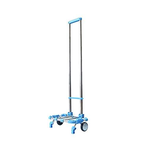Carretillas de Mano Plegable Carretilla Plegable Transporte con 2 Ruedas, Carritos Porta Equipajes Carga Máxima 20Kg/44Lbs (Color : Blue)