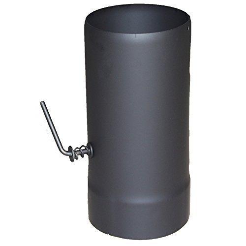 acerto 30076 Ofenrohr mit Drosselklape - 120 x 250 mm, schwarz | Kaminrohr, Rauchrohr-Adapter für Kaminofen