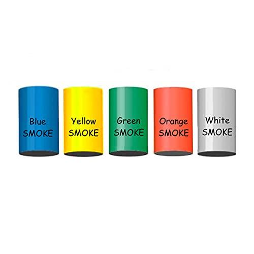 5 Stück h2i Color Mix Bengalo Rauch Vulkan Fontäne Party Feuerwerk Rauchfarbe Orange - Weiß - Grün - Blau - Gelb/Ganzjahresfeuerwerk Kat T1/ F1
