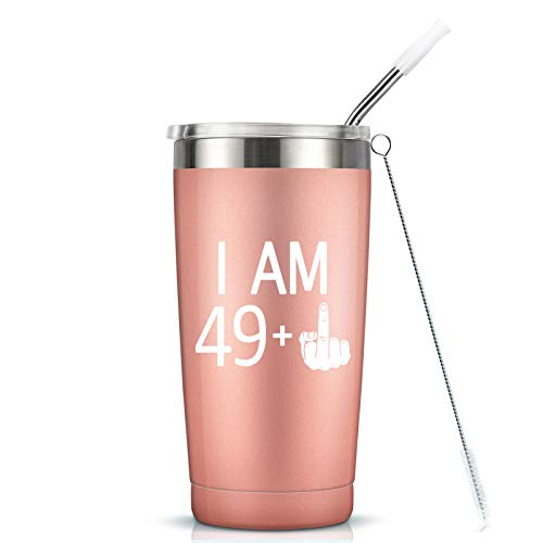 49 + One Middle Finger Mug Tumbler - 50th Birthday Gifts For Women Ladies Mom Sister Best Friend 20 oz Insulated Stainless Steel Tumbler Cup with Lid - Funny Turning 50 Bday Present