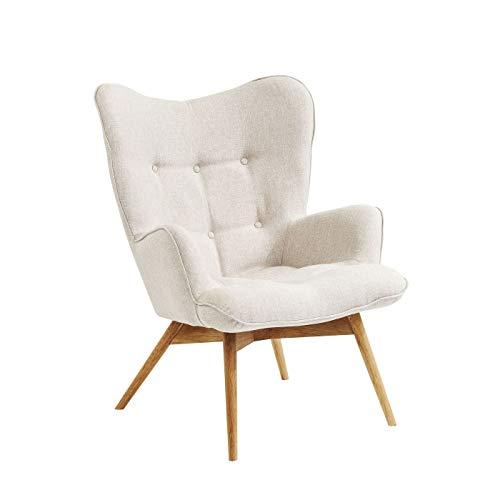 Kare Design Sessel Vicky, gemütlicher Loungesessel mit Armlehne, TV-Sessel mit hellem Holzgestell, (H/B/T) 92x59x63cm, weiß