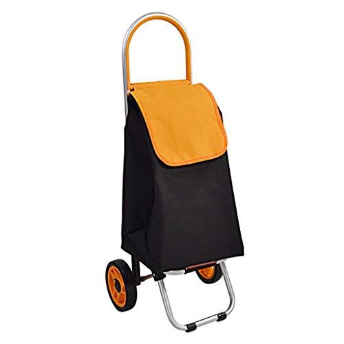 JPL Old Person Shopping Trolleys , Klettern Einkaufswagen Kleiner Pull Cart Folding Trolley Kinderwagen Ältere Hand Cart Portable Household Trailer,Gelb