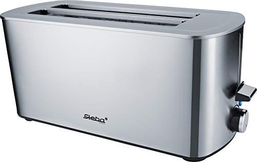 Steba Automatik Langschlitztoaster TO 21 Inox | für 4 Scheiben Toast | Anti-Fingerprint Gehäuse | 7 Bräunungsstufen einstellbar | 4 Funktionen: Toasten, Auftauen, Aufwärmen, Stoppen