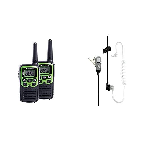 Midland C1177 Xt30 Radio Entry Level Ricetrasmittente Walkie Talkie Colore Verde Formato 16 Canali & Ma31-L Microfono Con Mono Auricolare Pneumatico, Accessorio Per Radio Ricetrasmittenti