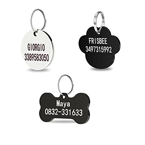 Etiquetas de identificación para mascotas de acero inoxidable , Etiquetas para perros personalizadas ,Texto grabado para gatos y perros con diferentes formas