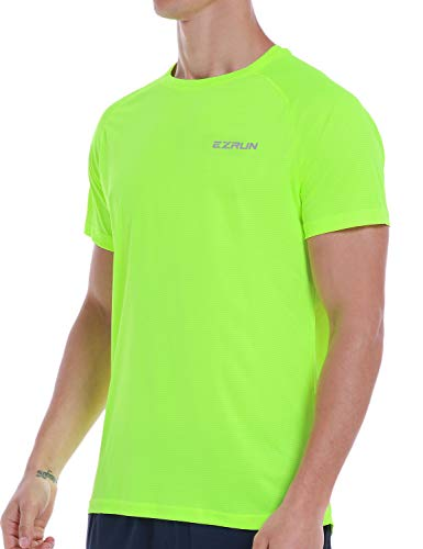 Men's Dry Fit Moisture Wicking Athletic T-Shirt Short Sleeve Workout Running Shirts for Men (Green,L)