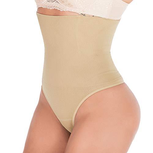 DODOING Damen Shapewear String Tanga Bodyshaper figurformende Unterwäsche Bauchweg Miederslip Hohe Taille Shaper Panties- XS/S(Taille 22.0-25.9 inch), Aprikosen