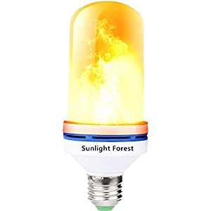 OMK - LED Flame Effect Fire Light Bulbs - Newest Upgraded 4 Modes Blue Flickering Fire Simulated Lamps - E26 Base LED Bulb - 6W Energy Efficient Fire Lights for Indoor/Outdoor Decoration (2Pack)