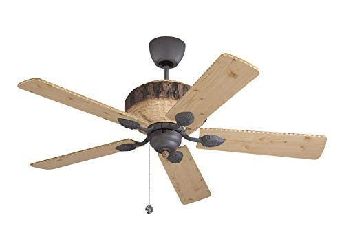 Monte Carlo 5GL52WI Flush Mount, 5 Wood Finish Blades Ceiling fan, Weathered Iron