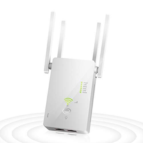 Repetidores WiFi, 1200Mbps Amplificador Señal WiFi 5G & 2.4G Repetidor Wifi Largo Alcance con AP/Repeater/Router Modos, 4 Antenas Cobertura de Señal Hasta 2500 Pies, 2 Puerto LAN/WAN, WPS (green)