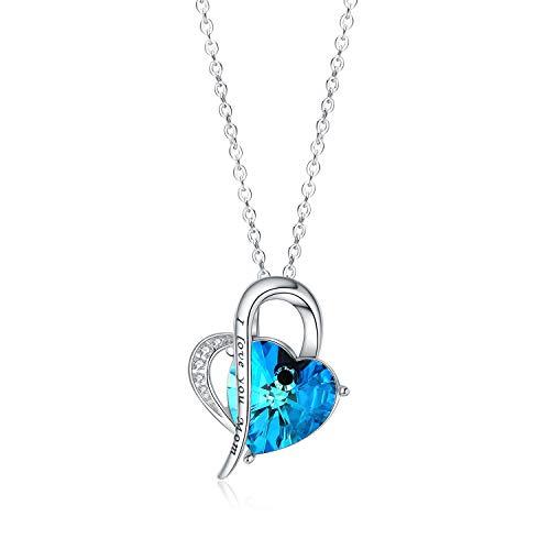 Aroncent Collar de Plata de Ley 925 con Cristal Azul de Swarovski Autorizado Colgante Diseño Original Forma de Corazón Regalo para Dar Las Gracias a Madre