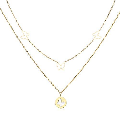Qings Collar con Colgante de Mariposa, Collar de Doble Capa Chapado en Oro de 14 K con Colgante Madre de Concha, Regalo de Joyería para Mujeres de Boda Damas