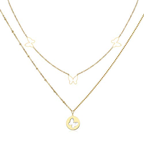 Qings Butterfly Pendant Necklace, 14K Gold Plated Double Layered Necklace with Mother of Shell Pendant, 37cm+5cm Chain, Exquisite Box, Jewellry Gift for Women Girls Mother Birthday Wedding