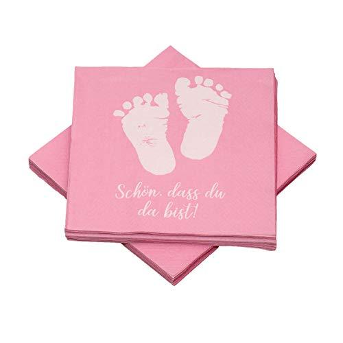 in due 20 Servietten Babyfüße 'Schön, DASS du da bist!' 33x33 cm - rosa - für Geburt, Taufe, Babyshower, Mädchen