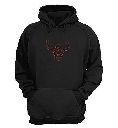 Generic Chicago Bulls Corns Sport Team Symbol_KK019013 Hoodies Kapuzenpullover Kapuzen Sweatshirt Gift Unisex Sport Leisure 100% Cotton Christmas - Large - Black