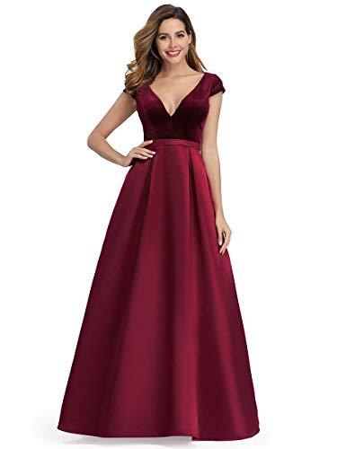 Ever-Pretty Women's V-Neck Cap Sleeve Velvet Dress Prom Party Dresses 0982