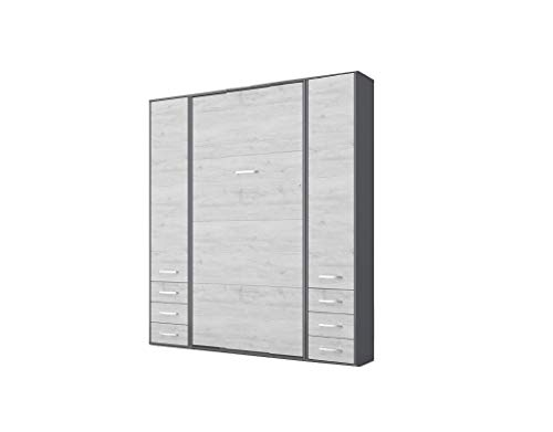 Best Bargain Contempo Vertical Wall Bed, European Twin Size with 2 cabinets (Grey/White Monaco)