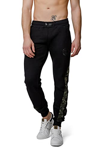 Boxeur des rues - Black Track Pants with Ergonomic Cuts and Camouflage Inserts, Man, XS