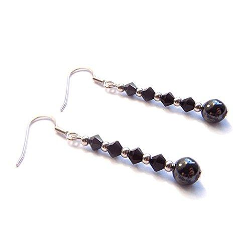 LunarraStar Pendientes de plata de ley 925 redondos de hematita y cristal negro azabache con cuentas perforadas