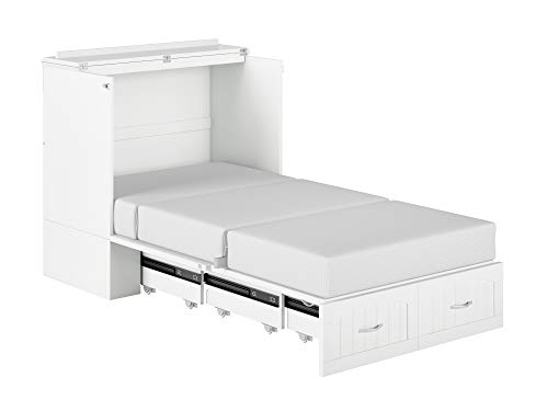 Atlantic Furniture Southampton Murphy Bed Chest with Charging Station, Twin XL, White