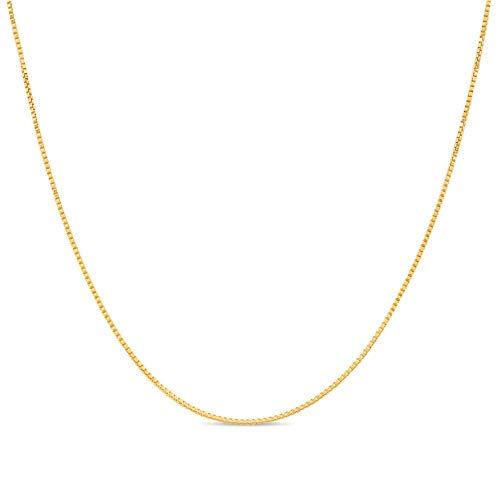 18k Gold over Sterling Silver 1mm Box Chain Necklace Made in Italy 20 Inch