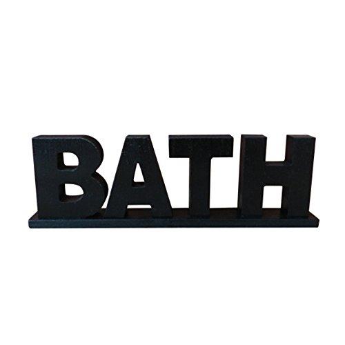 """CVHOMEDECO. Vintage rustique en bois Noir lettres Pancarte sur pied """"BATH"""" de salle de bain/Home Décoration murale/porte Art, L29,9 x H8,4 x T2.5 cm"""