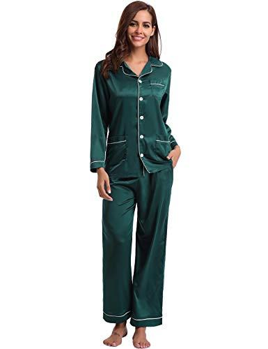 Abollria Femmes de Pyjama Satin 2 Pcs Vêtement de Nuit Classique Ensemble de Pyjama, Vert, XL