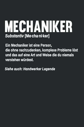 Mechaniker Definition Notizbuch (liniert) Garage Auto KFZ Schrauber