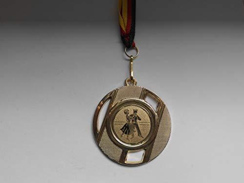 Fanshop Lünen Medaillen aus Metall 50mm - mit Einem Emblem - Tanzen -Tänzer - inkl. Medaillen Band Farbe: Gold - mit Alu Emblem 25mm -