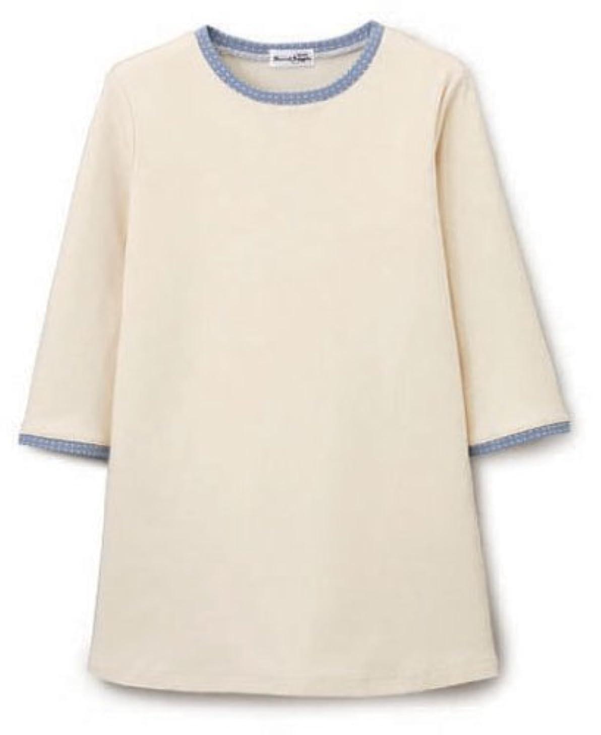含む持っている粘土汗染み防止七分袖ゆったりプルオーバー(水玉柄) ベージュ L