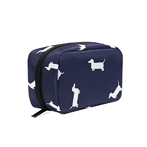 LORONA Dachshund Patroon Navy Leggings Cosmetische Pouch Koppeling Make-up Bag Travel Organizer Case Toilettas voor Vrouwen